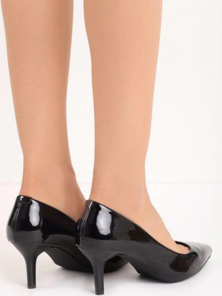 Pantofi Cu Toc Mediu Eleganti Negri