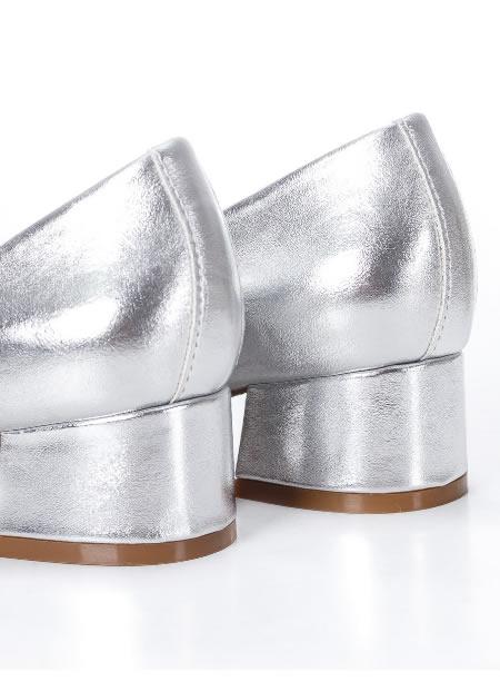 Pantofi Cu Toc Mic Argintii Ieftini