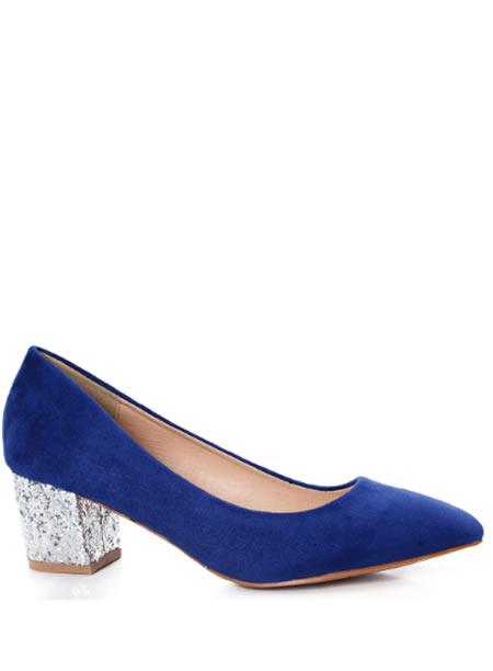 Pantofi Cu Toc Mic De Ocazie Albastri