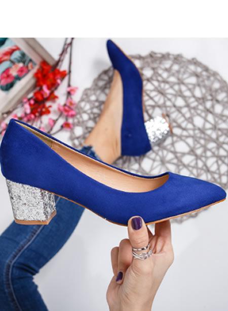 Pantofi Cu Toc Mic De Ocazie Cu Paiete Albastri