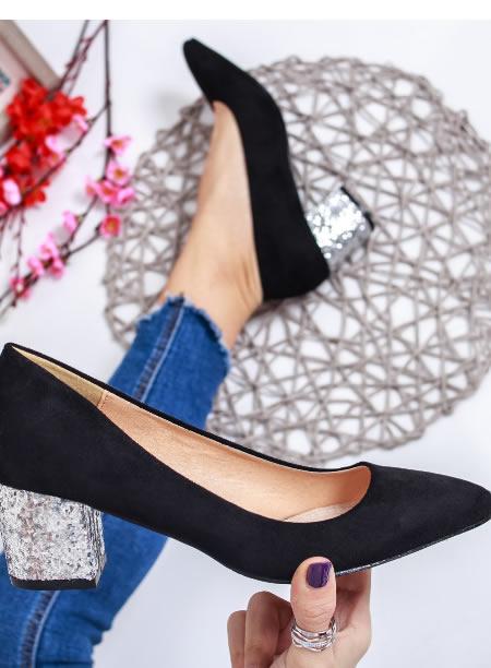 Pantofi Cu Toc Mic De Ocazie Cu Paiete Negri