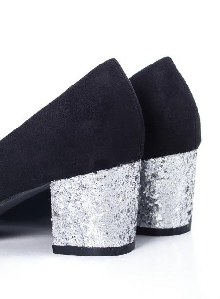 Pantofi Cu Toc Mic De Ocazie Cu Paiete Pe Toc