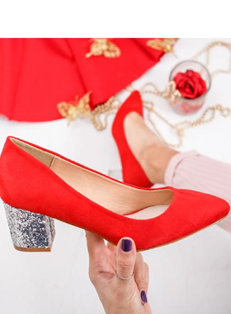 Pantofi Cu Toc Mic De Ocazie Cu Paiete Rosi