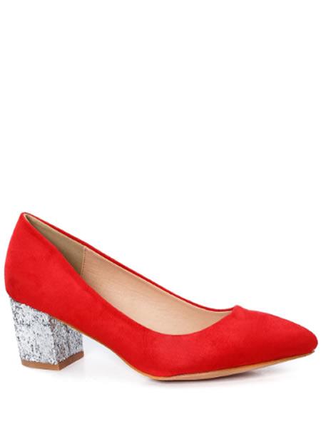 Pantofi Cu Toc Mic De Ocazie Rosii