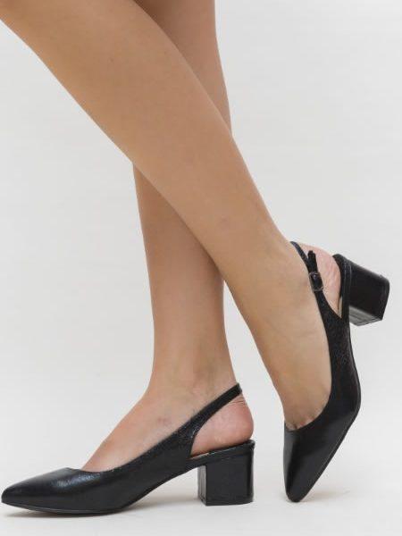 Pantofi Cu Toc Mic Decupati La Spate