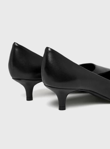 Pantofi Cu Toc Mic Din Piele Negri