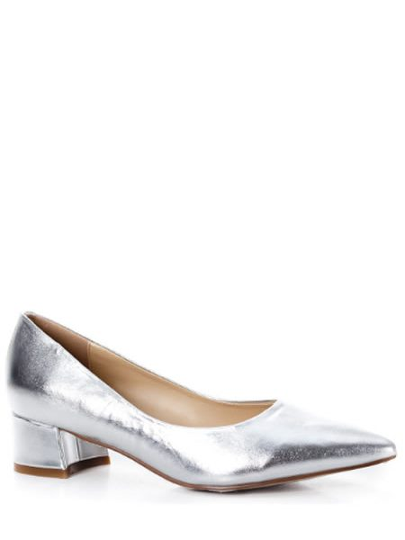 Pantofi Cu Toc Mic Patrat Argintii
