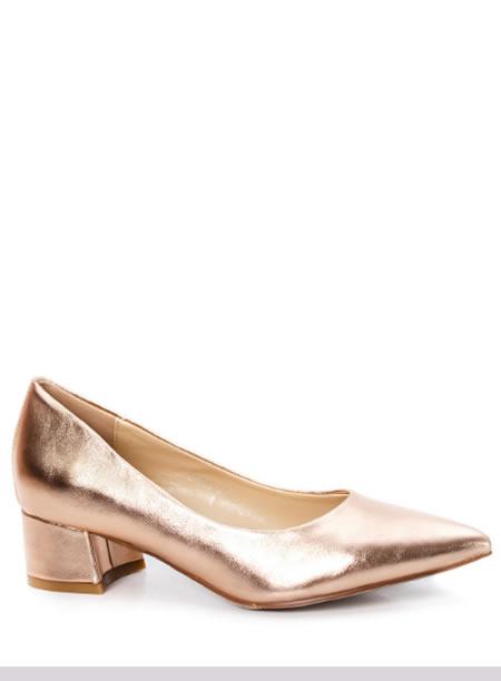 Pantofi Cu Toc Mic Patrat Aurii