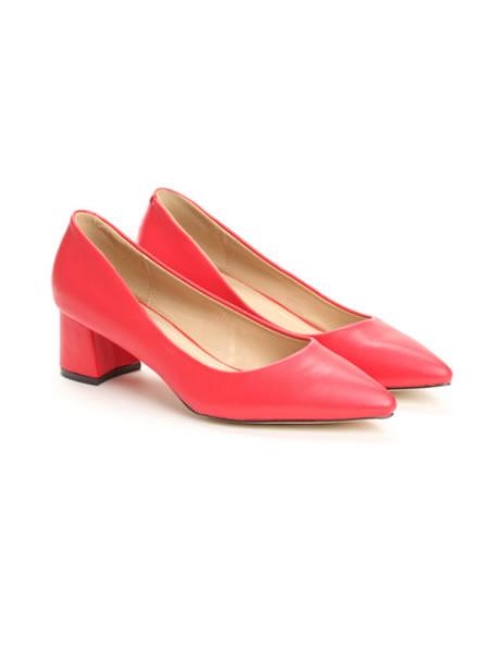 Pantofi Cu Toc Mic Patrat Si Varf Ascutit
