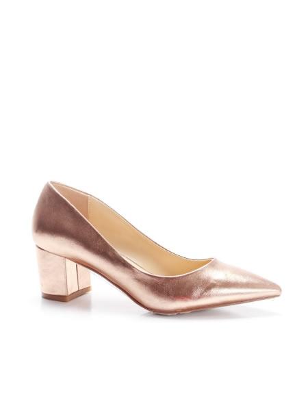 Pantofi Cu Toc Mic Si Gros Aurii