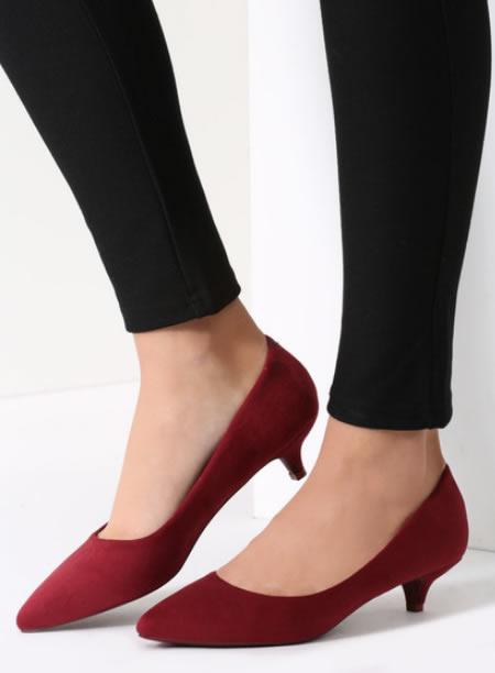 Pantofi Cu Toc Mic Si Subtire Grena