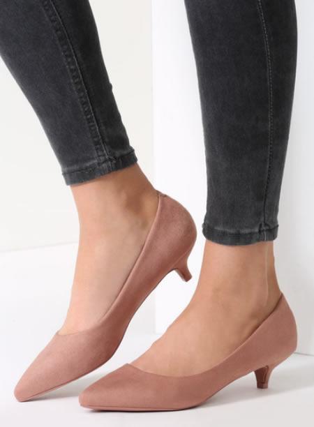 Pantofi Cu Toc Mic Si Subtire Roz