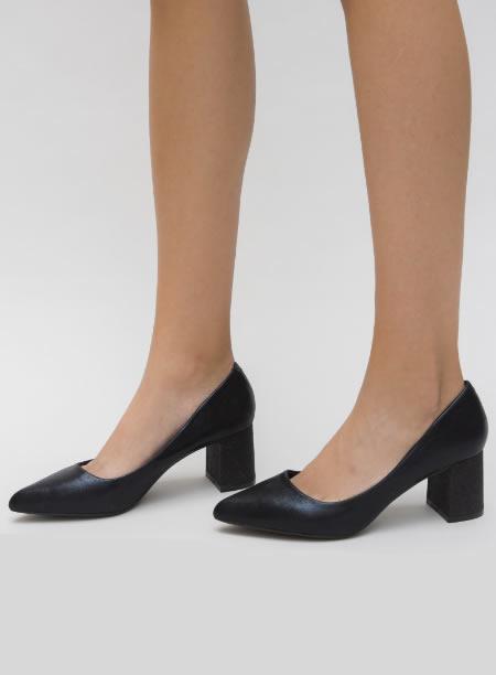Pantofi Cu Varf Ascutit Si Toc Patrat Accent Negri