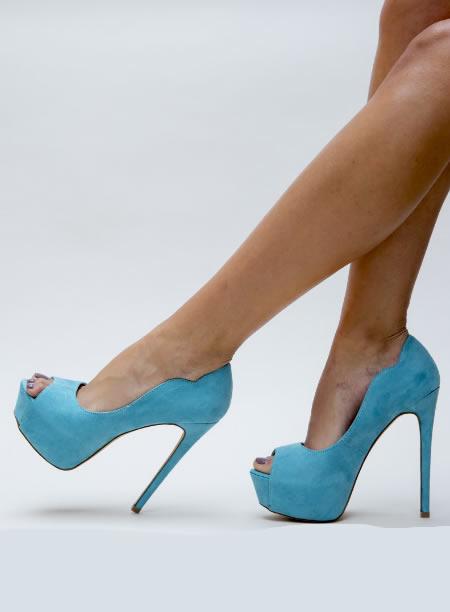 Pantofi Cu Toc Si Platforma Bleu