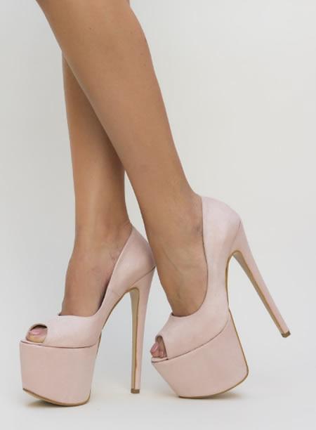 Pantofi Cu Toc Si Platforma Foarte Inalti Nude