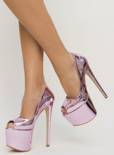 Pantofi Cu Toc Si Platforma Foarte Inalti Roz
