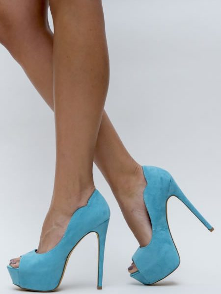 Pantofi Cu Toc Si Platforma Ieftini Bleu