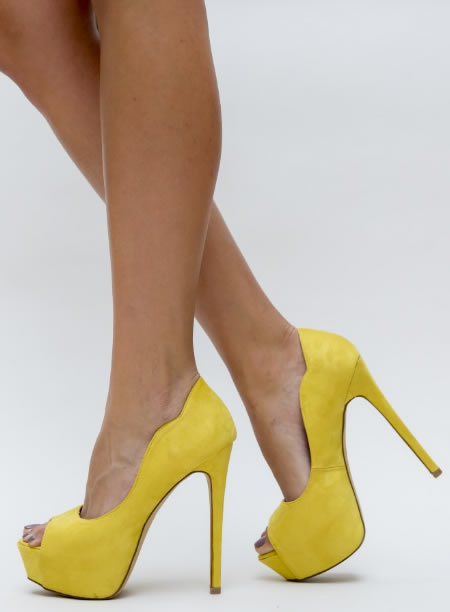 Pantofi Cu Toc Si Platforma Ieftini Galbeni