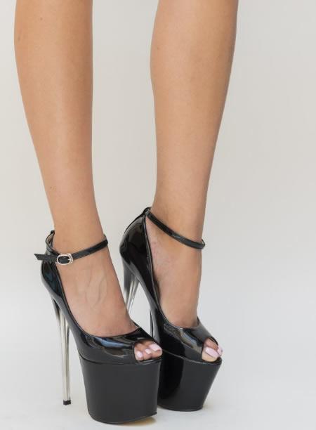 Pantofi Cu Toc Si Platforma Inalta Negri