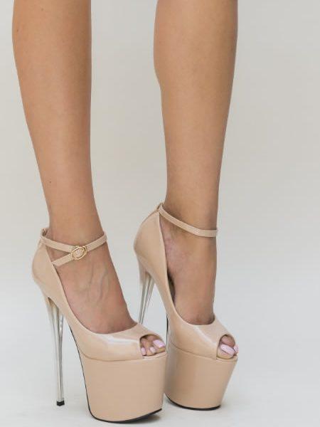 Pantofi Cu Toc Si Platforma Inalta Nud