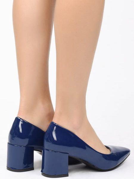 Pantofi Dama Albastri Cu Toc Mediu