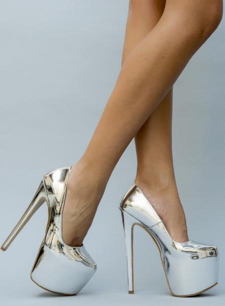 Pantofi Dama Argintii Cu Toc Foarte Inalte