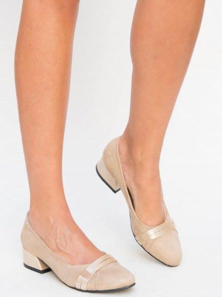 Pantofi Dama Bej Cu Toc Jos Mic