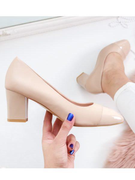 Pantofi Dama Bej Cu Toc Mediu Gros Bleumarin