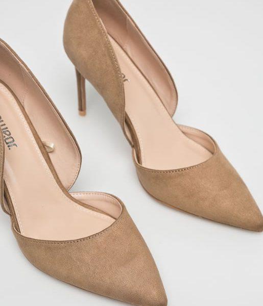 pantofi dama bej inchis cu toc stiletto