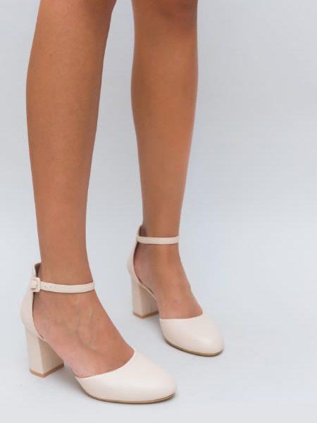 Pantofi Dama Cu Bareta In Jurul Gleznei Bej