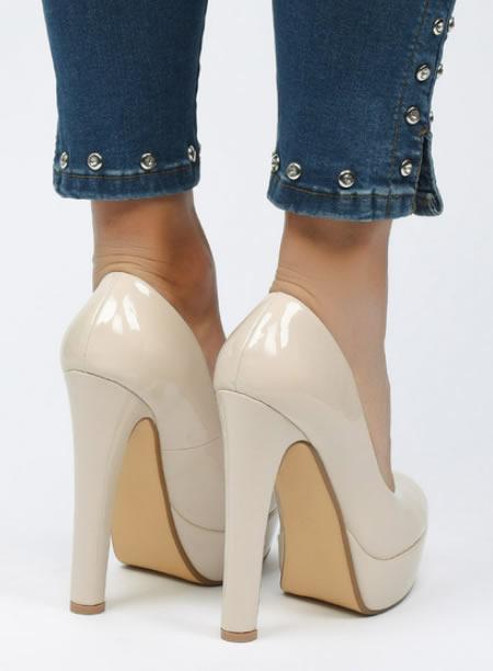 Pantofi Dama Cu Platforma Si Toc Gros Bej