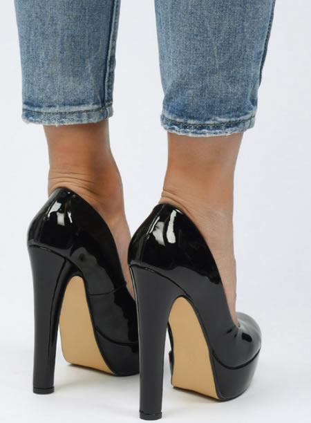 Pantofi Dama Cu Platforma Si Toc Gros Negri