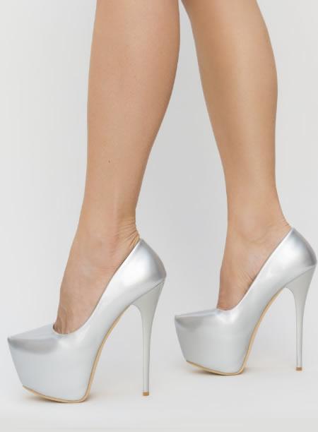 Pantofi Dama Cu Platforma Si Toc Subtire Argintii