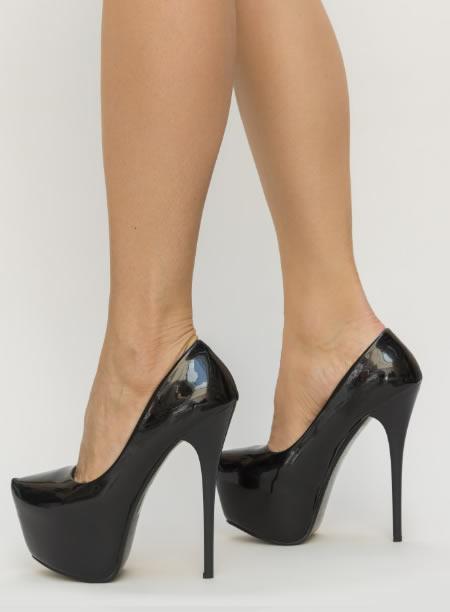 Pantofi Dama Cu Platforma Si Toc Subtire Negri