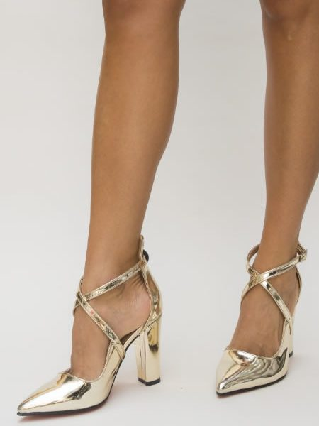 Pantofi Dama Cu Toc Gros Galbeni