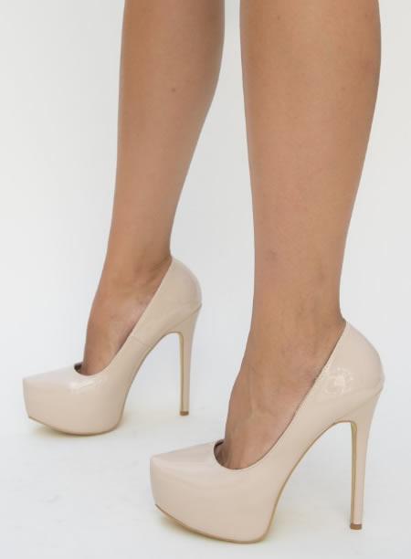 Pantofi Dama Cu Toc Inalt Si Platforma Bej