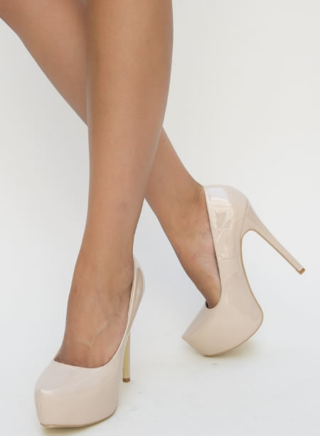 Pantofi Dama Cu Toc Inalt Si Platforma Nud