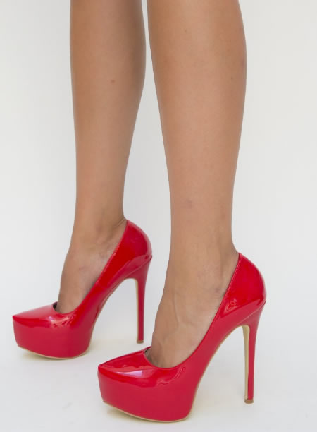 Pantofi Dama Cu Toc Inalt Si Platforma Rosii
