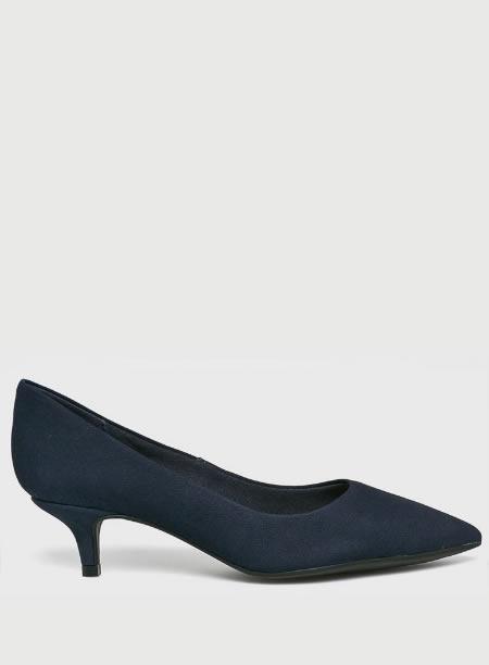 Pantofi Dama Cu Toc Mic Bleumarin Piele Intoarsa