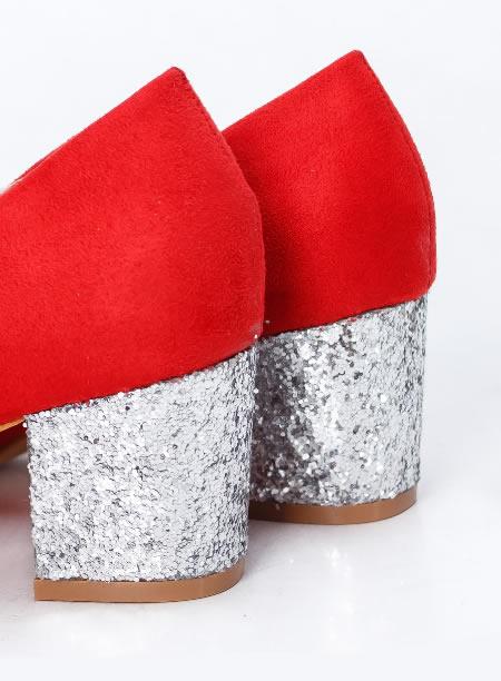 Pantofi Dama Cu Toc Mic De Ocazie Cu Paiete