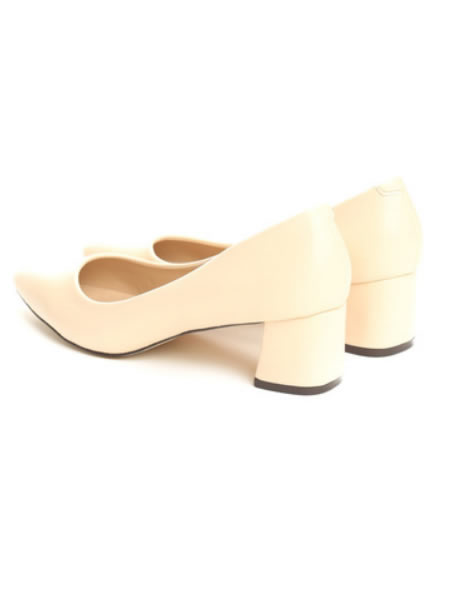 Pantofi Dama Cu Toc Mic Patrat Bej