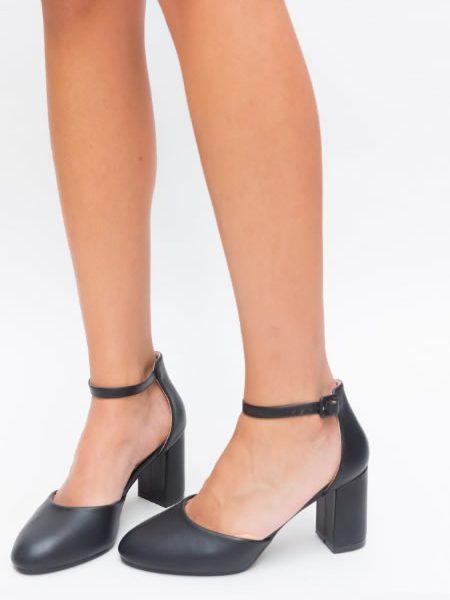 Pantofi Dama Cu Toc Patrat Si Varf Rotund