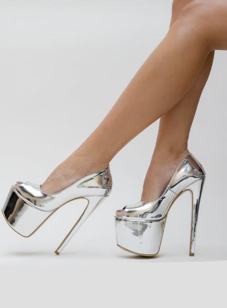 Pantofi Dama Cu Toc Si Platforma Mare Argintii