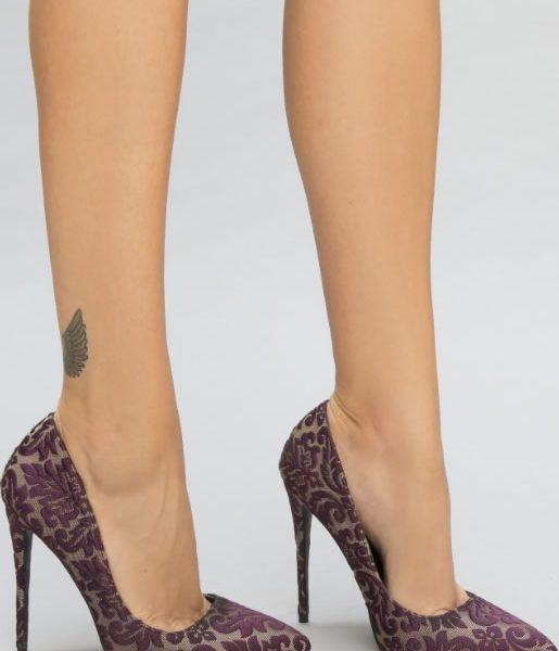 pantofi dama din dantela mov