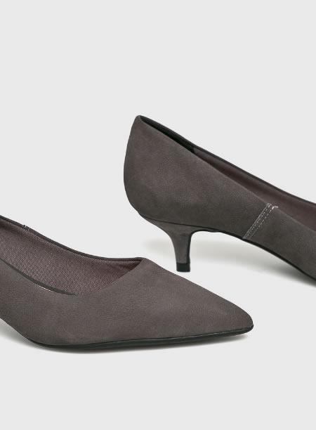 Pantofi Dama Gri Cu Toc Kitten Heel