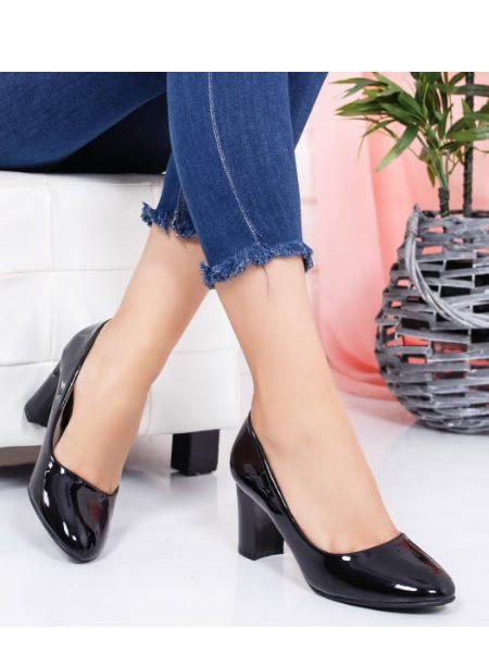 Pantofi Dama Lac Cu Toc Mediu