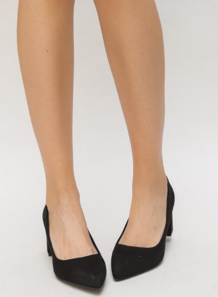 Pantofi Dama Negri Cu Toc Patrat Ieftini