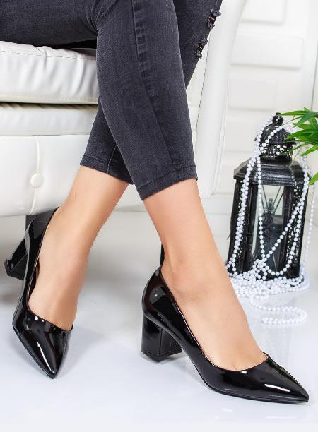 Pantofi Dama Negri Cu Varf Ascutit Si Toc Mic