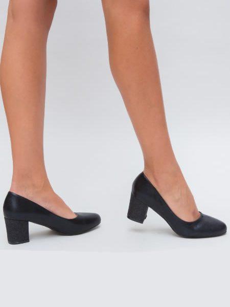 Pantofi Dama Negri Cu Varf Rotunjit Si Toc Mediu