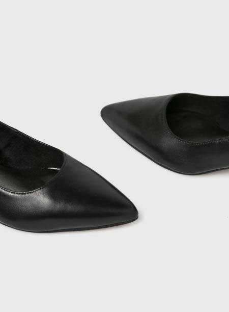 Pantofi Dama Negri Din Piele Cu Toc Subtire Mic